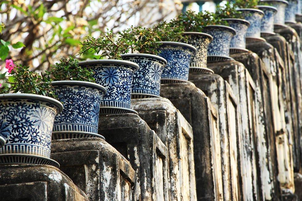 Historical Park Petchaburi bloempotjes