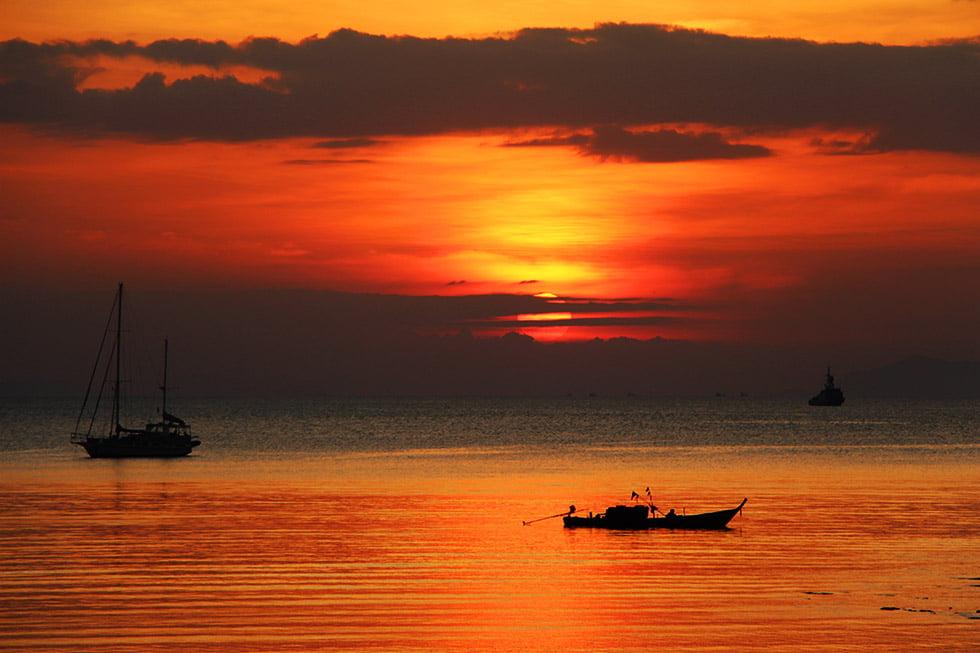 De zonsondergang op Koh Phayam