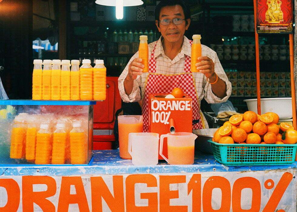 Verse sinaasappelsap in Bangkok