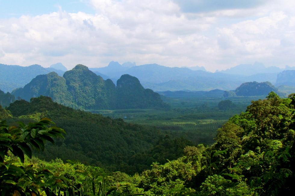 Uitzicht bergen van Khao Sok