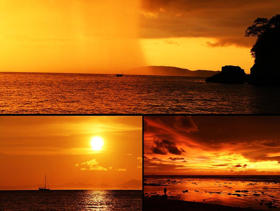 Zonsondergangen Krabi, Railay Beach, Koh Lanta