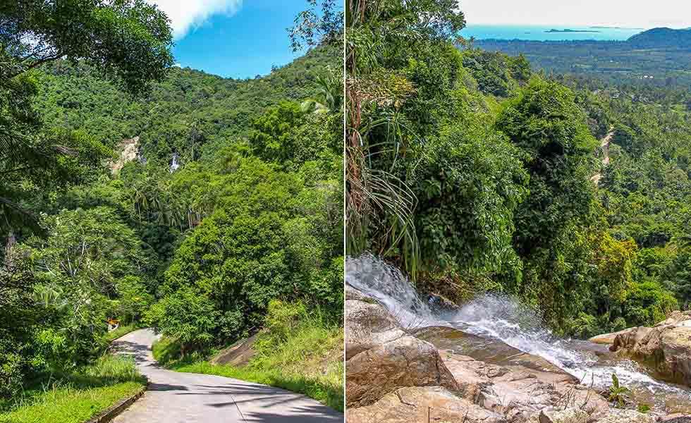 Boven- en onderkant van de Na Muang Waterfall op Koh Samui