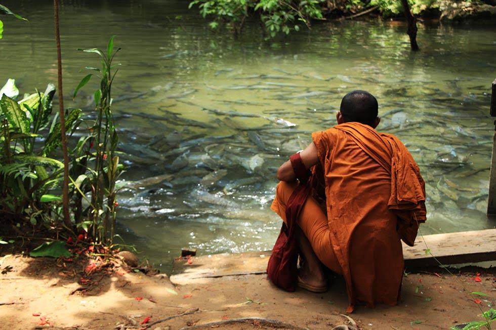 Monnik bij de Fish Cave