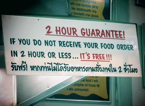 2 uur voedsel garantie