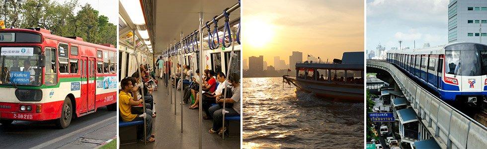 bus bangkok, mrt, boot, skytrain, bts