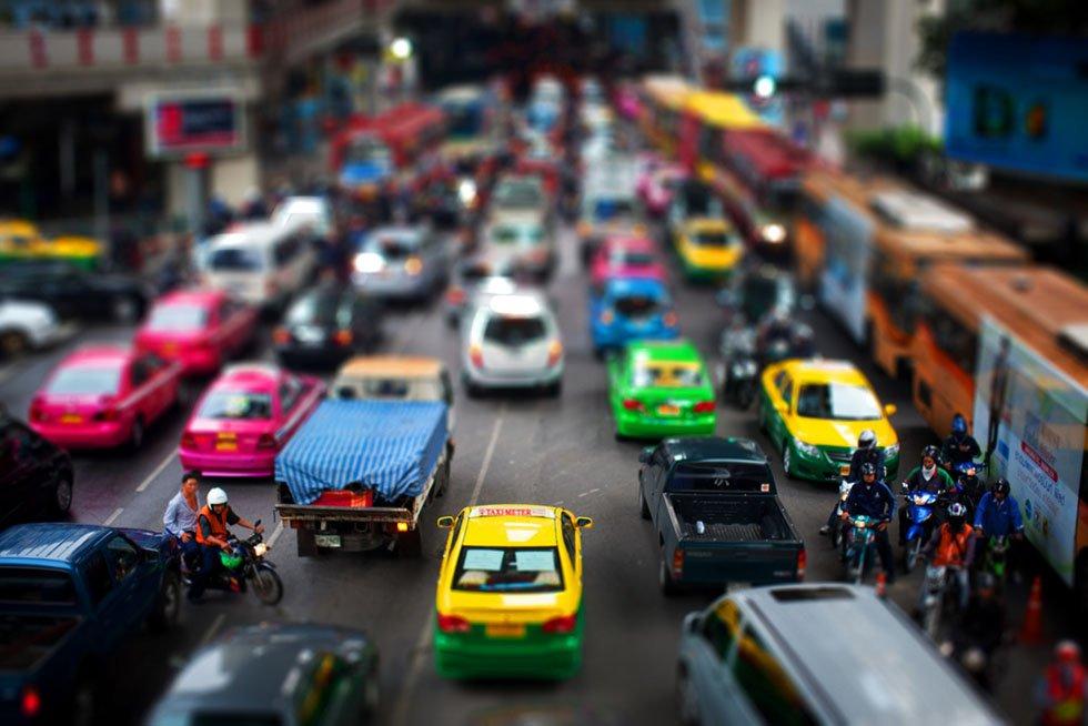 De gekleurde taxi's van Bangkok