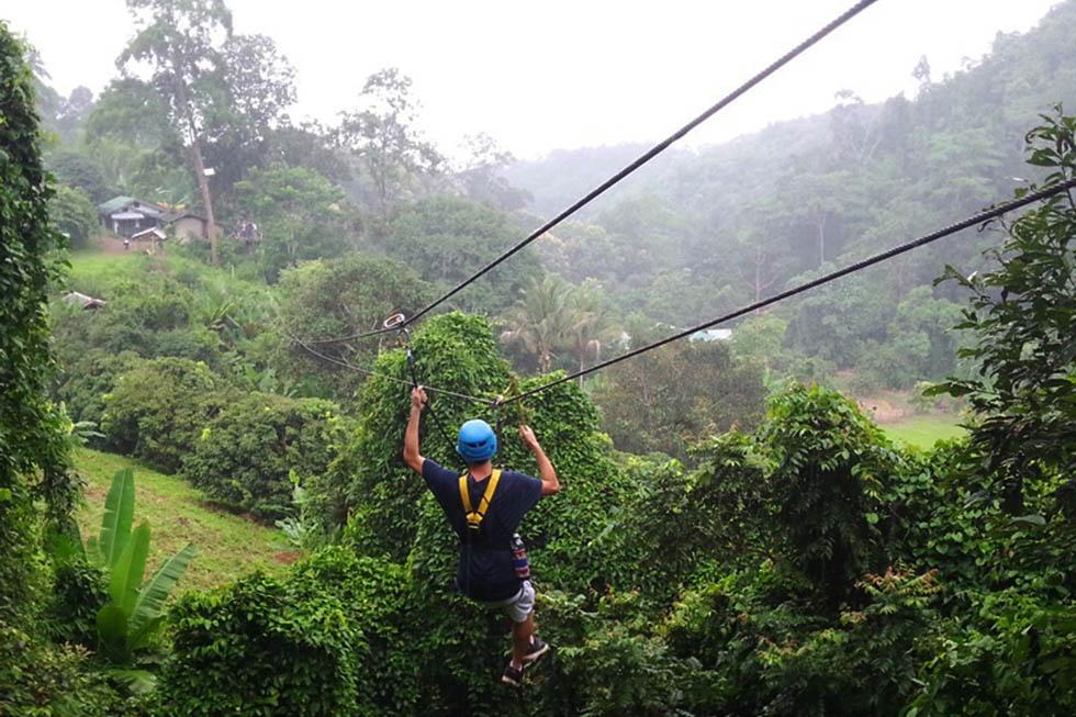 Ziplinen Chiang Mai - Het parcours
