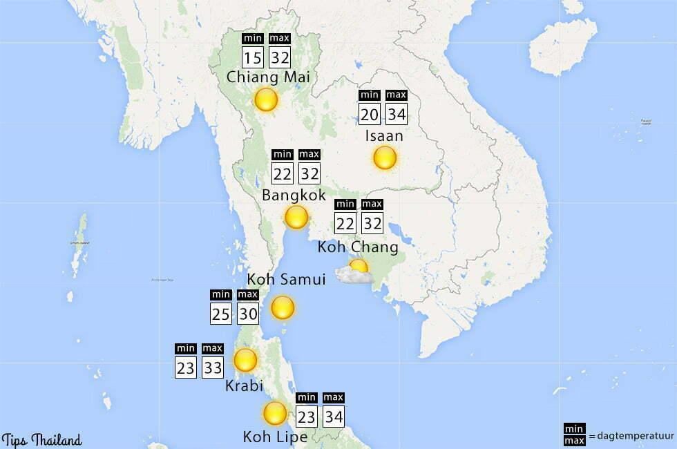 Regen zon maand februari weer Thailand