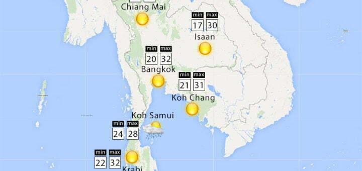 Het weer in Thailand voor de maand januari