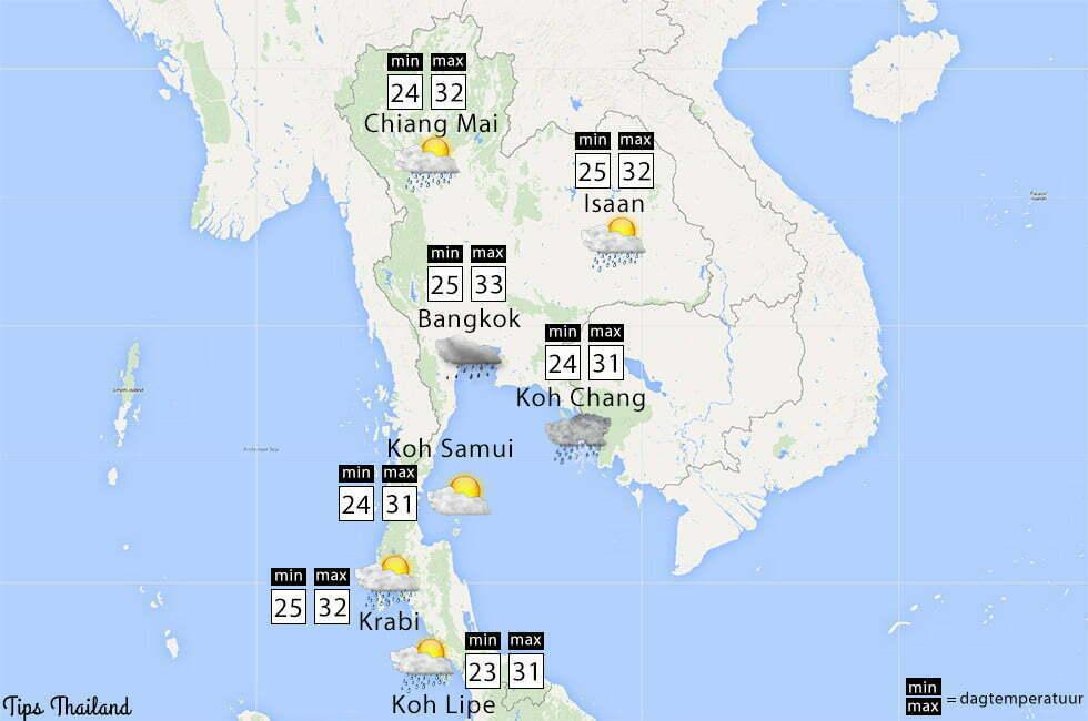 Weer tijdens het regenseizoen in Thailand