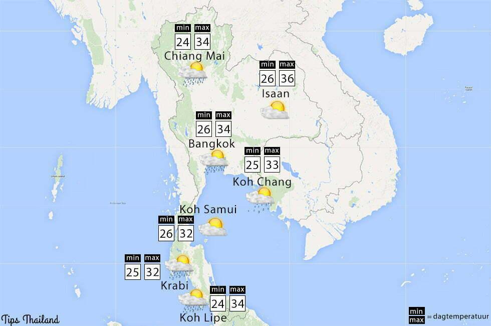weer zon regen thailand in mei