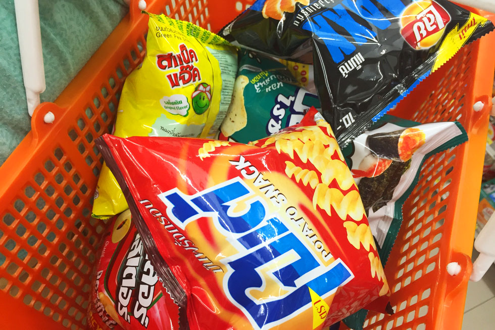 7-Eleven mandje vol chips