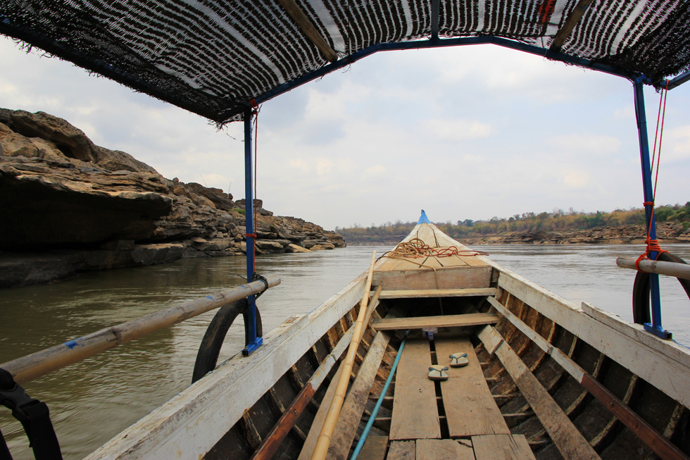 Boottocht over de Mekong bij Sam Phan Bok