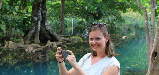 Foto's maken bij de Crystal Stream in Krabi