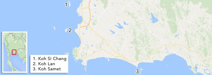 Eilanden Thailand - Kaart van eilanden nabij Bangkok