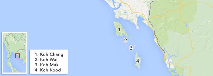 Eilanden in de Oostelijke Golf van Thailand