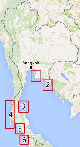 Kaart van alle eilandengroepen in Thailand