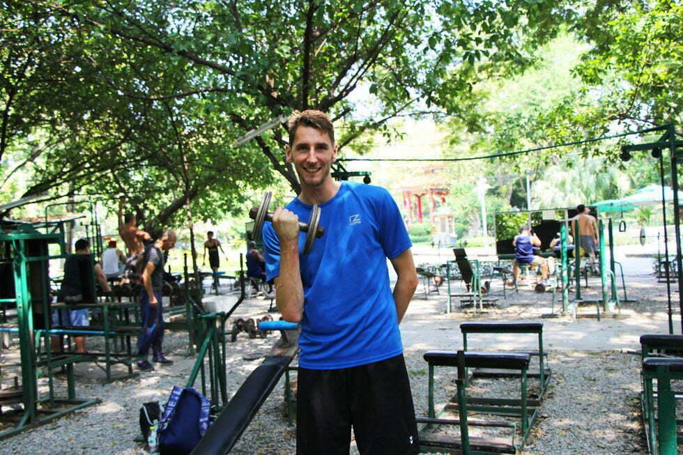Sander in de 'ghetto gym' van Lumphini Park