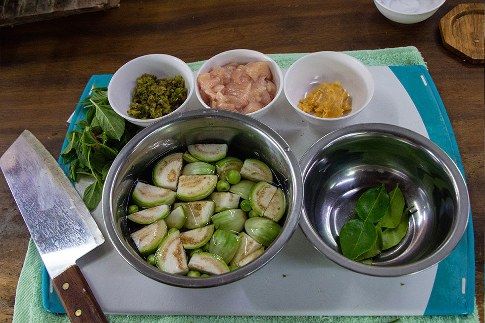 Ingrediënten groene curry