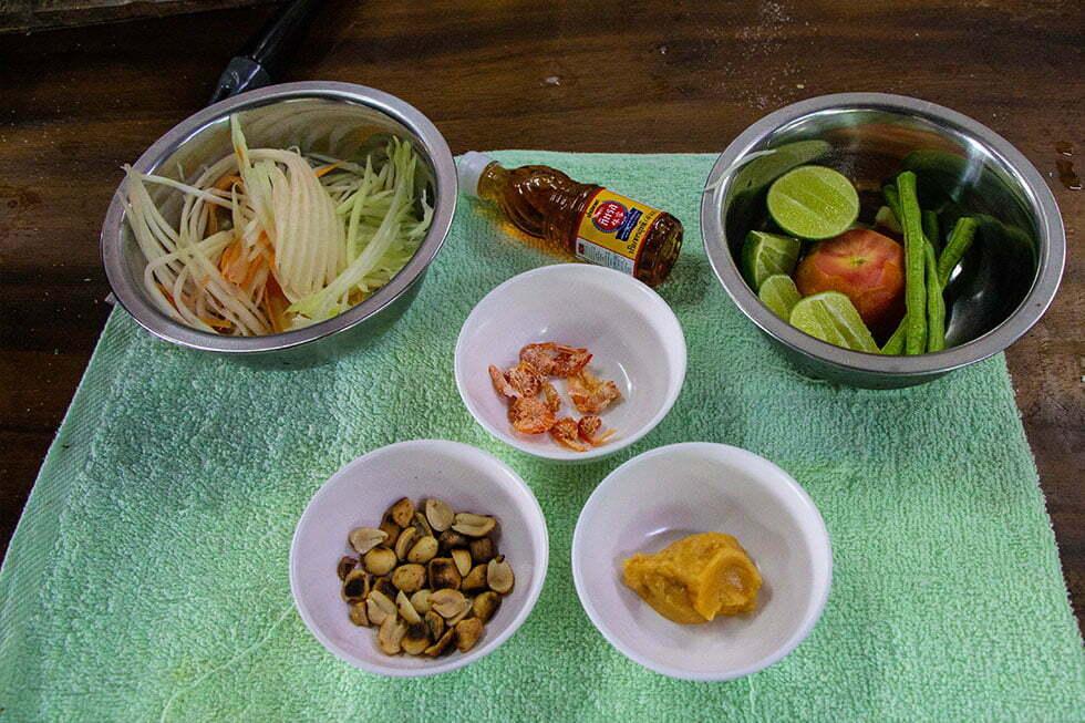 Ingrediënten papaja salade