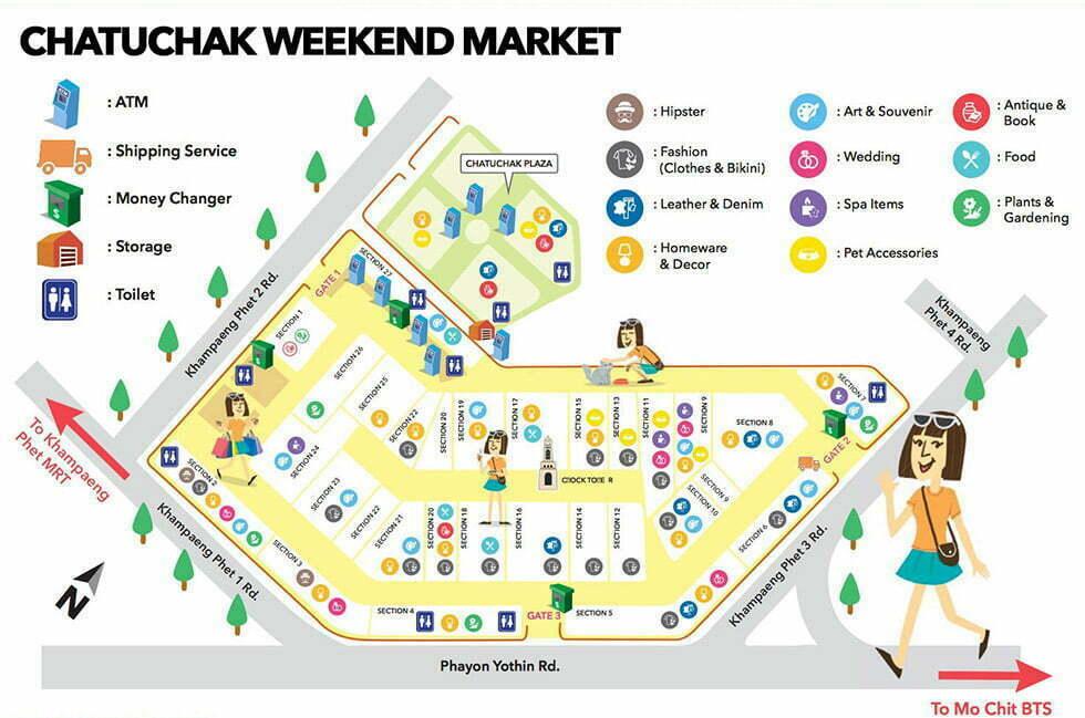 Kaart van de Chatuchak Weekend Market