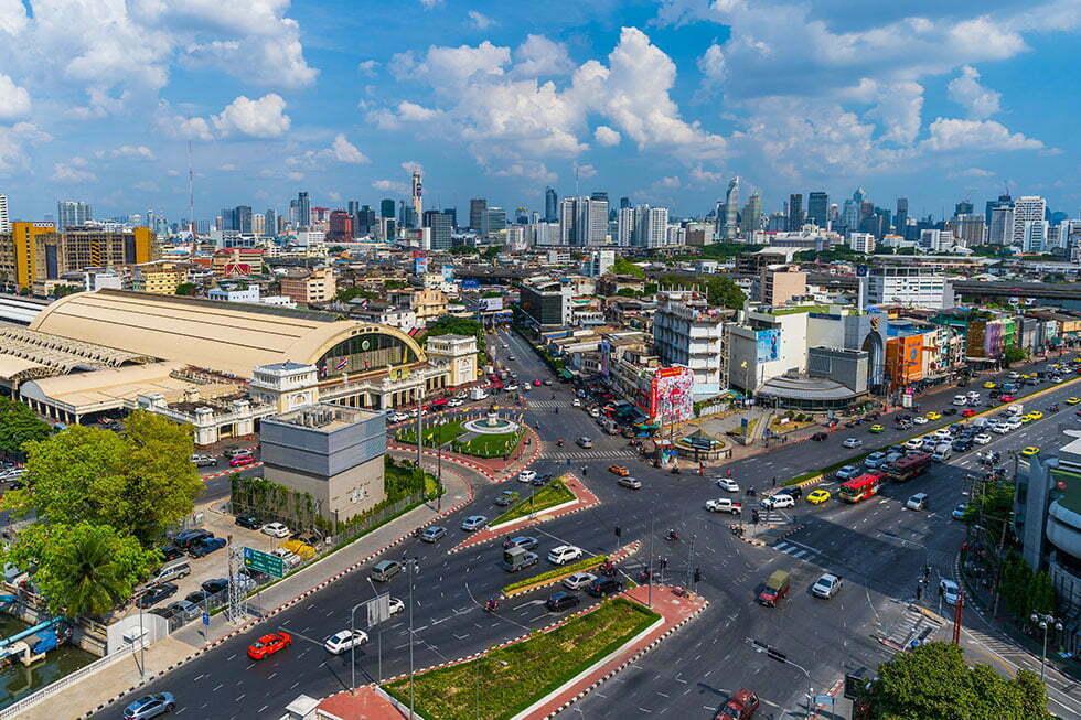 Hua Lamphong Treinstation van bovenaf