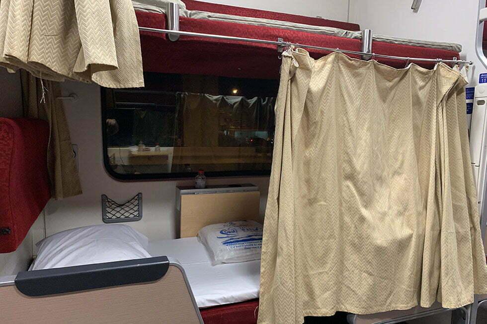 Tweede klas wagon van de nieuwe nachttrein